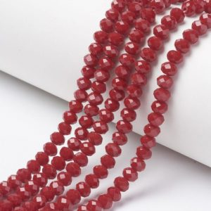 Opaque Brick Red Crystal Rondelle Bead - Riverside Beads