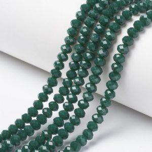Opaque Dark Green Crystal Rondelle Bead - Riverside Beads