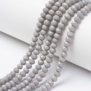 Opaque Dark Grey Crystal Rondelle Bead - Riverside Beads