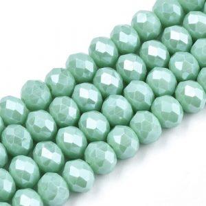 Opaque Luster Aquamarine Crystal Rondelle Bead - Riverside Beads