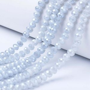 Opaque Luster Azure Crystal Rondelle Bead - Riverside Beads