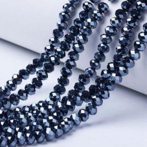 Opaque Luster Black Crystal Rondelle Bead - Riverside Beads