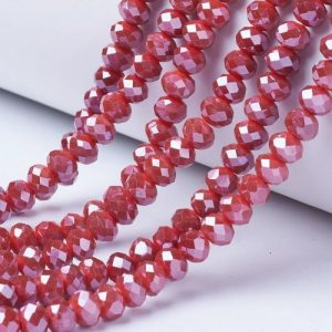 Opaque Luster Brick Red Crystal Rondelle Bead - Riverside Beads