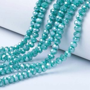 Opaque Luster Turquoise Crystal Rondelle Bead - Riverside Beads