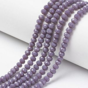 Opaque Purple Crystal Rondelle Bead - Riverside Beads
