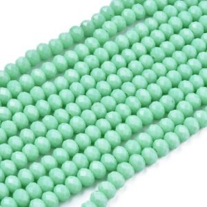Opaque Turquoise Crystal Rondelle Bead - Riverside Beads