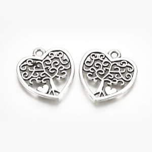 Silver Heart Tree Charms - Silver - Charms - Riverside Beads