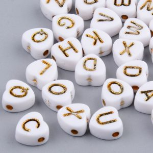 Acrylic Gold Heart Alphabet Bead - Riverside Beads