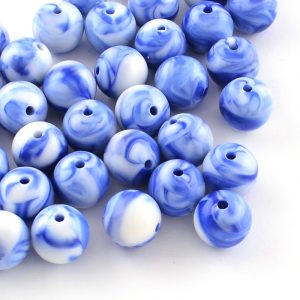 7mm Acrylic Marbled Bead - Blue - Riverside Beads