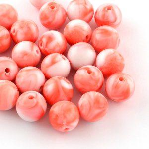 7mm Acrylic Marbled Bead - Orange - Riverside Beads