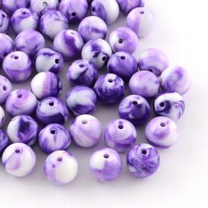 7mm Acrylic Marbled Bead - Purple - Riverside Beads