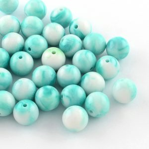 7mm Acrylic Marbled Bead - Teal - Riverside Beads