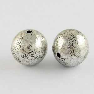 Antique Silver Embossed Bead - Riverside Beads