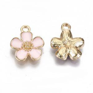 Enamel Pink Flower Charms - Riverside Beads