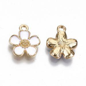 Enamel White Flower Charms - Riverside Beads