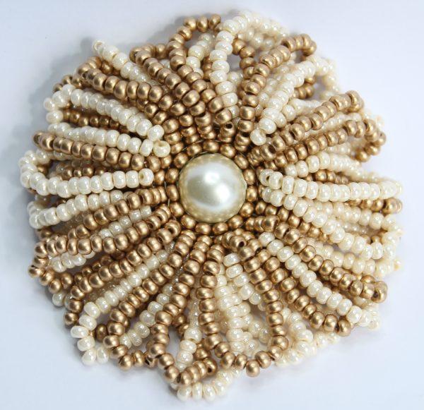 Gold Frilly Flower Brooch - Riverside Beads
