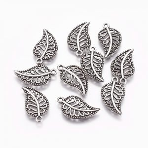 Patterned Silver Leaf Charms - Riverside Beads