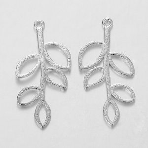 Silver Aperture Leaf Charms - Riverside Beads