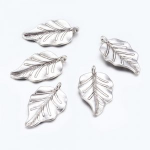 Silver Leaf Charms - Riverside Beads