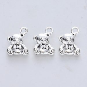 Small Silver Teddy Charms - Riverside Beads