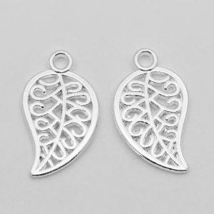 Swirled Silver Leaf Charms - Riverside Beads
