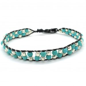 Turquoise Cotton Cord Bracelet - Riverside Beads
