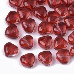 Glass Heart Beads - Red - Beads - Riverside Beads