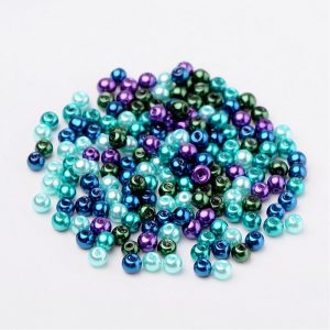4mm Mixed Glass Pearls - Peacock - Riverside Beads