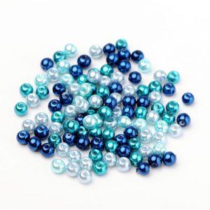 6mm Mixed Glass Pearls - Caribbean Blue - Riverside Beads