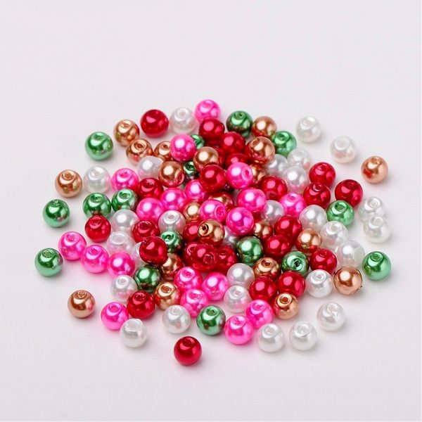 6mm Mixed Glass Pearls - Christmas Mix - Riverside Beads