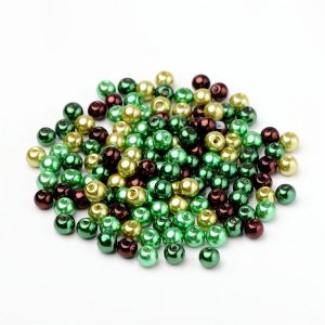 6mm Mixed Glass Pearls - Mint Chocolate - Riverside Beads