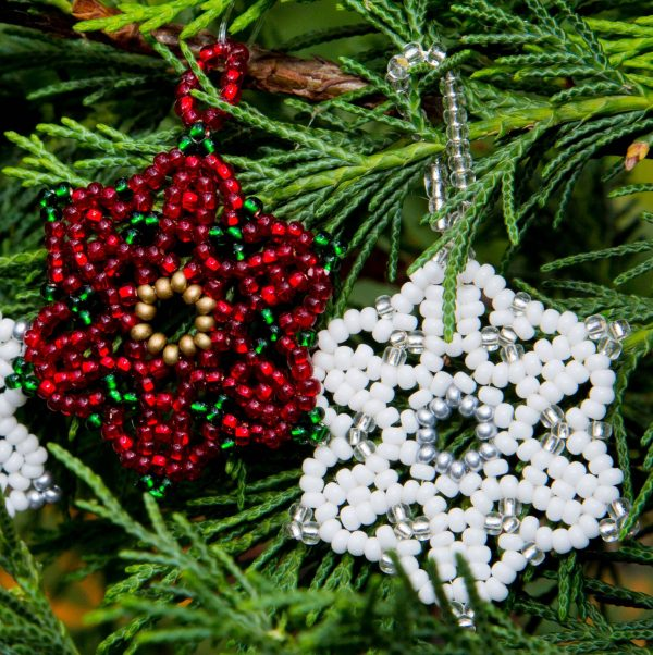 Beaded Poinsettia and Snowflake Ornaments - Riverside Beads