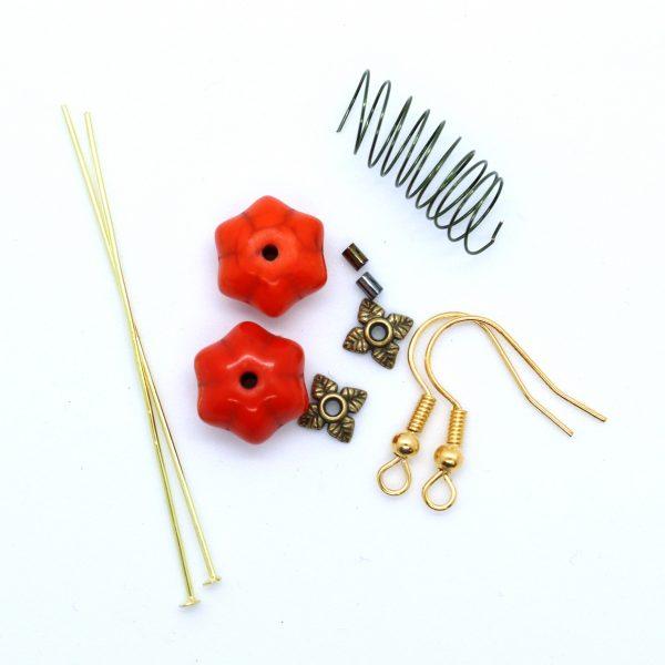 Pumpkin Earrings Kit - Jewellery Making - Riverside Beads
