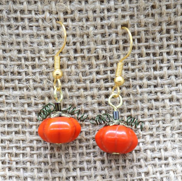 Pumpkin Earrings - Halloween Jewellery - Riverside Beads